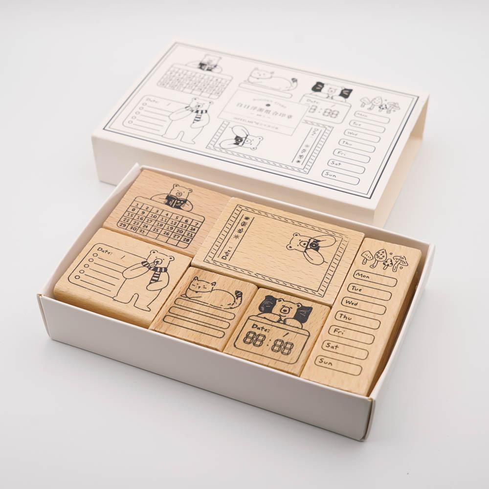 くまのスタンプ6個セット Infeel.me wooden stamp