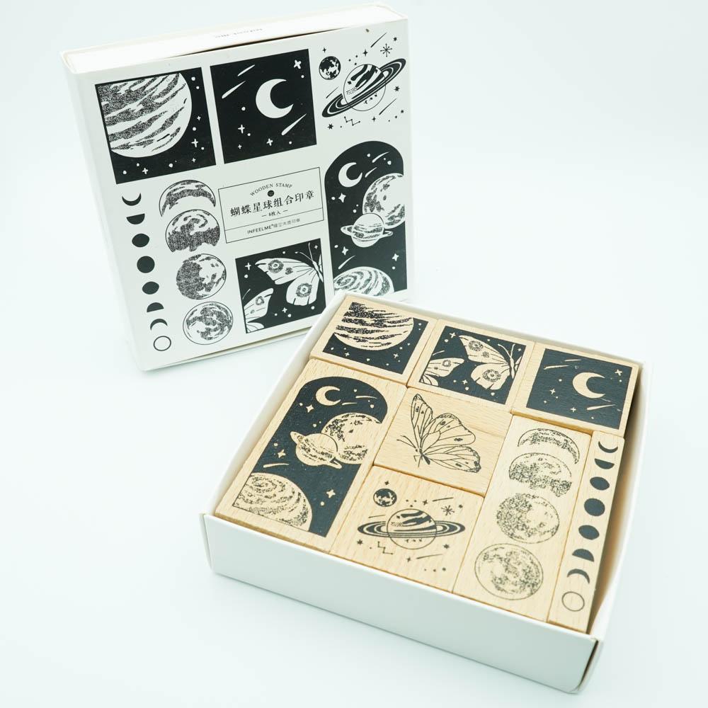 蝶と宇宙のスタンプ8個セット Infeel.me wooden stamp YZ-4390