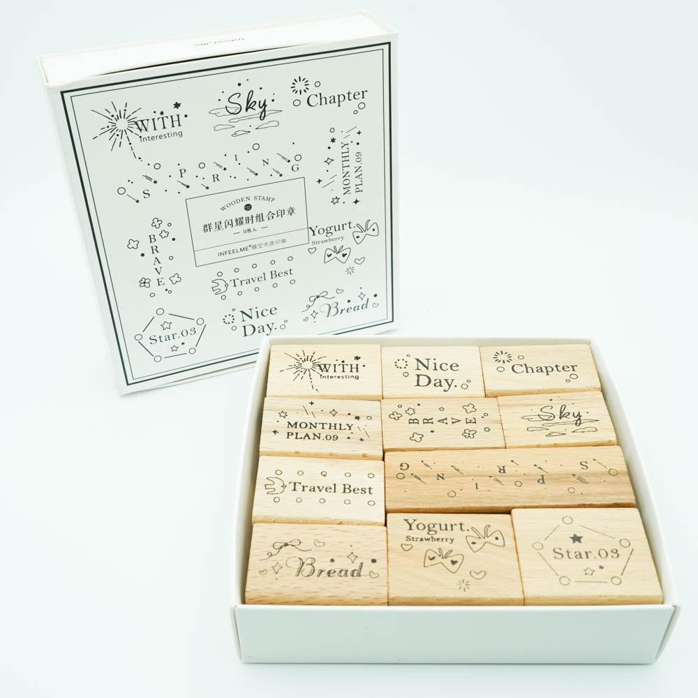 可愛いスタンプ11個セット Infeel.me wooden stamp YZ-4552