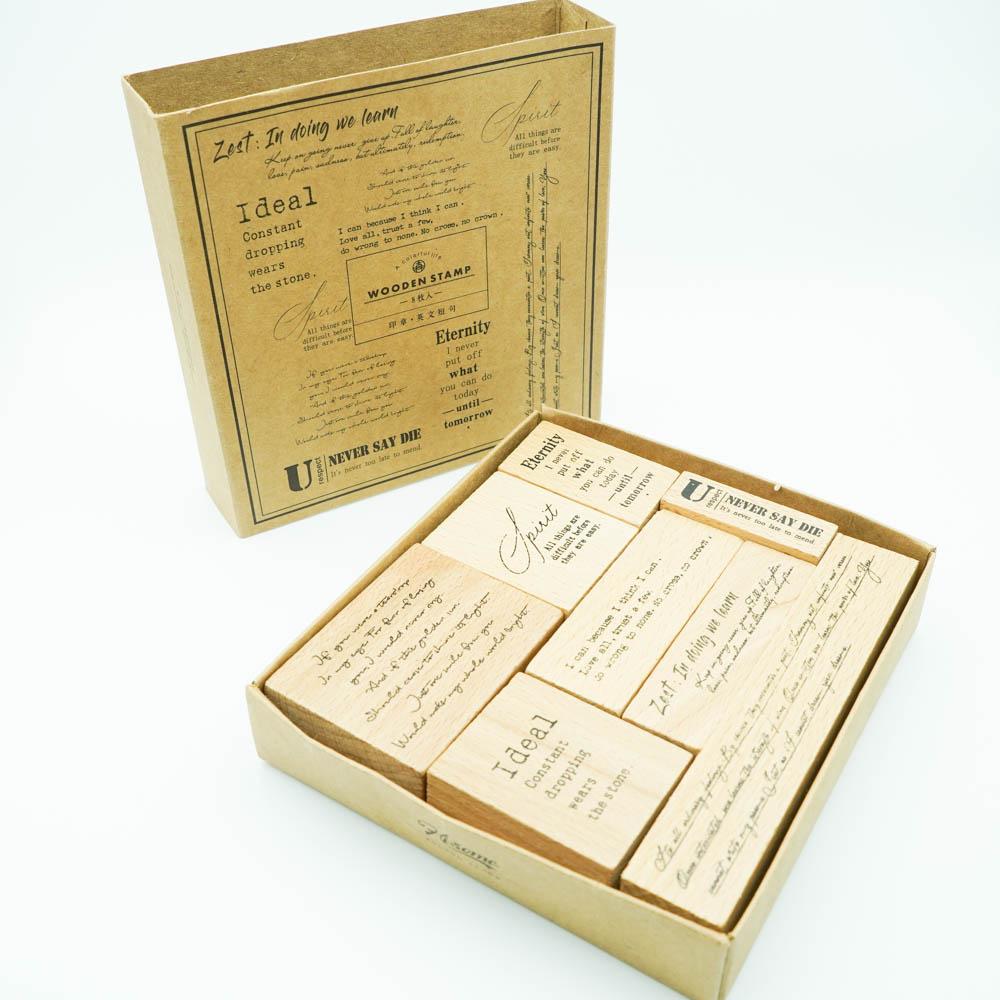 英文スタンプ8個セット Infeel.me wooden stamp HSTZ9783