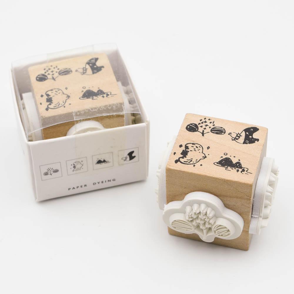 鳥のスタンプ 紙染 FOUR-SIDED