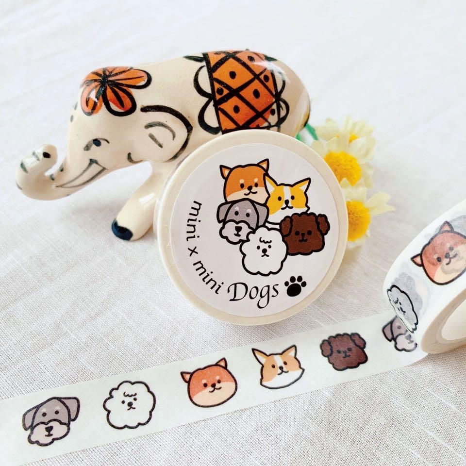【韓国出身アーティストCOHA×RUNGOコラボ企画】COHA マスキングテープ mini mini Dogs